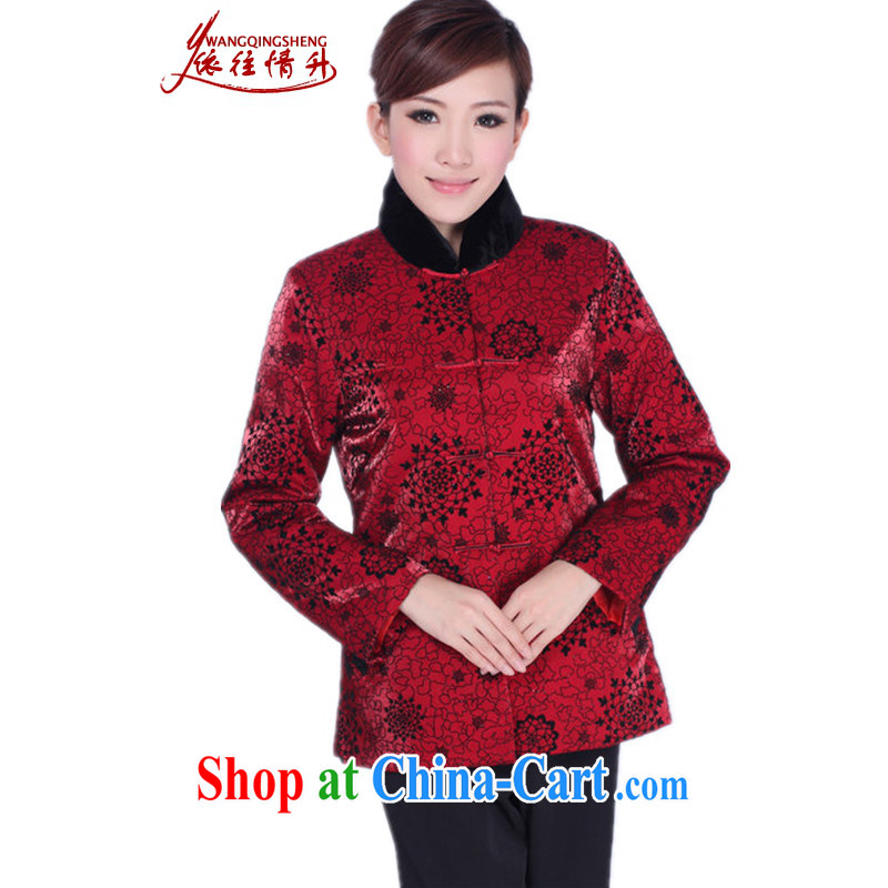 In accordance with the conditions and the older female Chinese countrysides older persons and winter warm Tang with quilted coat middle-aged female, for stitching Tang with quilted coat red 3XL