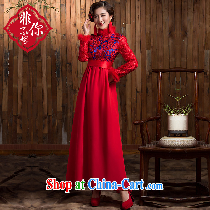 Non-you don't marry 2014 autumn and winter high waist bridal dresses wedding red bows Service Bridal fitted with cotton long skirt long-sleeved red 2 XL