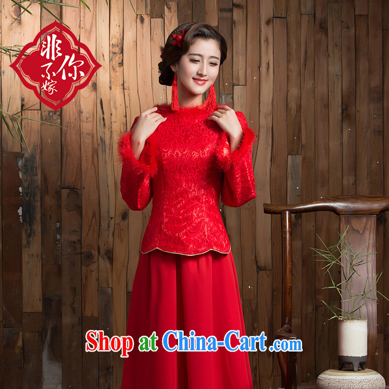 Non-you don't marry winter new marriage toast service bridal dresses red long skirt, long sleeved hair brought back door red 2 XL