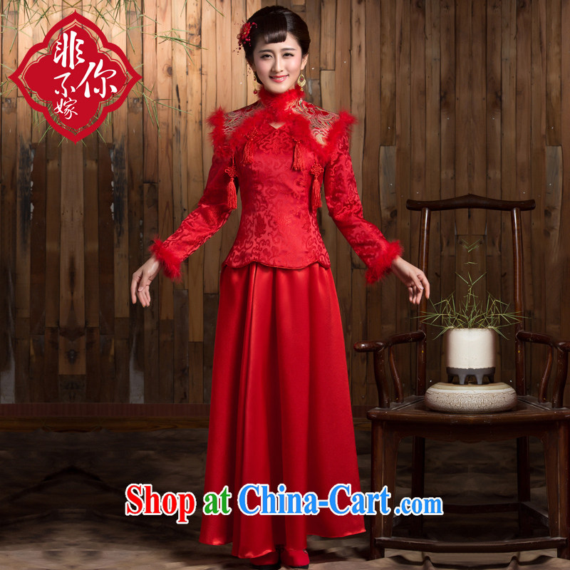 2014 new winter bridal dresses long sleeved retro red toast serving thick Chinese long wedding dress red 2 XL