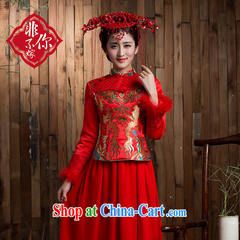 2014 new toast winter uniform thickness maximum code bridal long-sleeved dresses retro lace long wedding dress red 2 XL