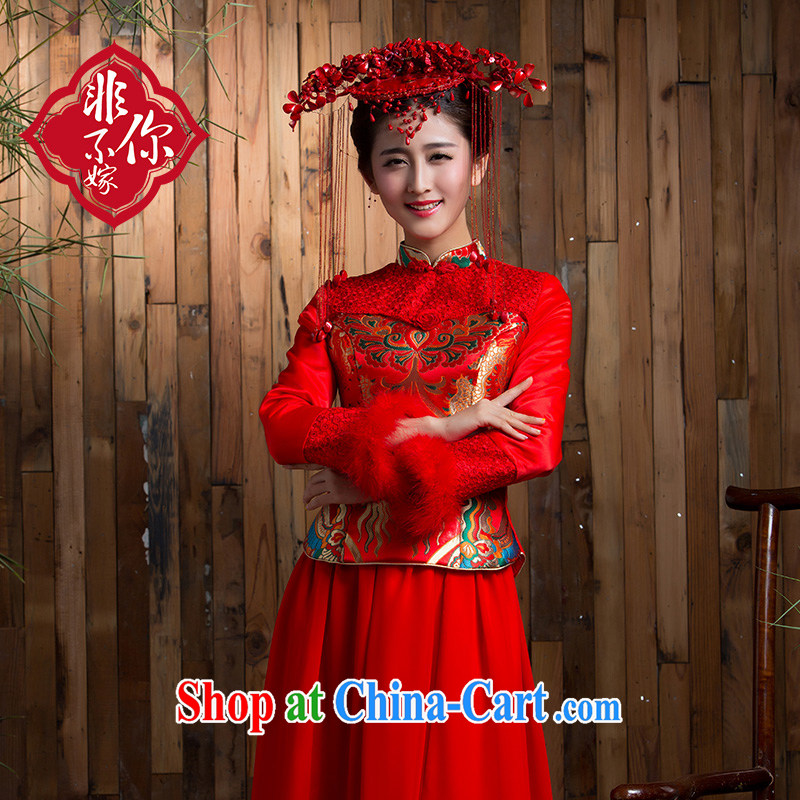 2014 new toast winter uniform thickness maximum code bridal long-sleeved dresses retro lace-long wedding dress red 2 XL, non-you are not married, and shopping on the Internet