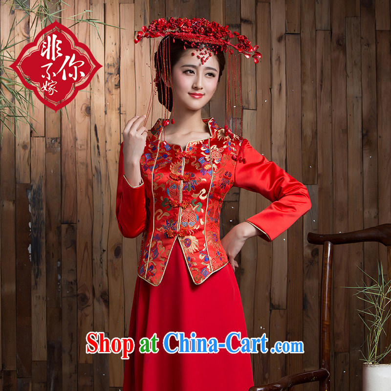 Non-you don't marry long-sleeved long red retro improved bridal cheongsam dress winter toast wedding clothes back door red 2 XL