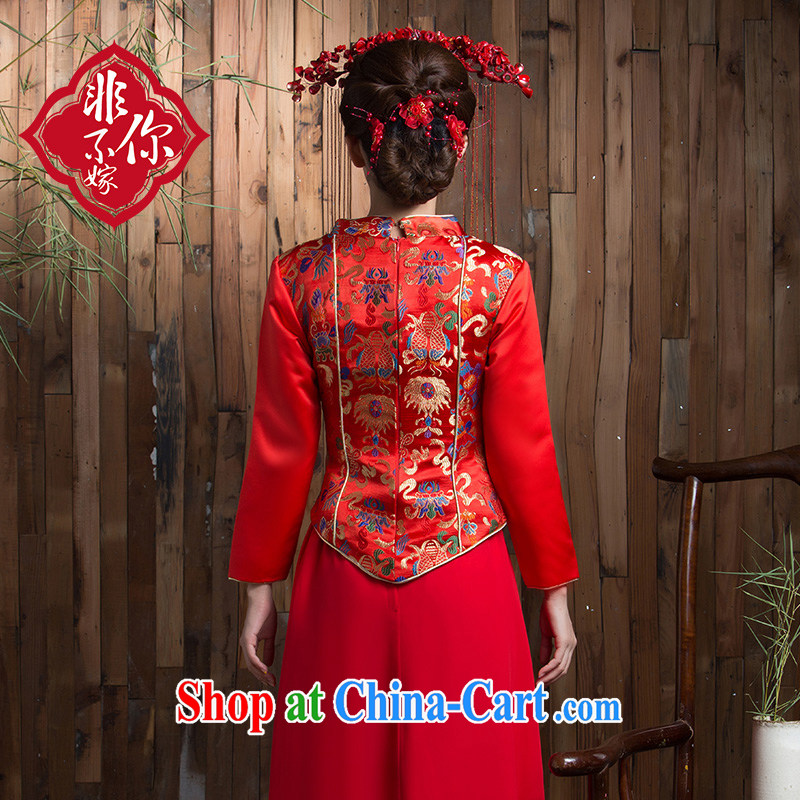 Non-you don't marry long-sleeved long red retro improved bridal cheongsam dress winter toast wedding clothes back-door red 2 XL, non-you are not married, and, shopping on the Internet