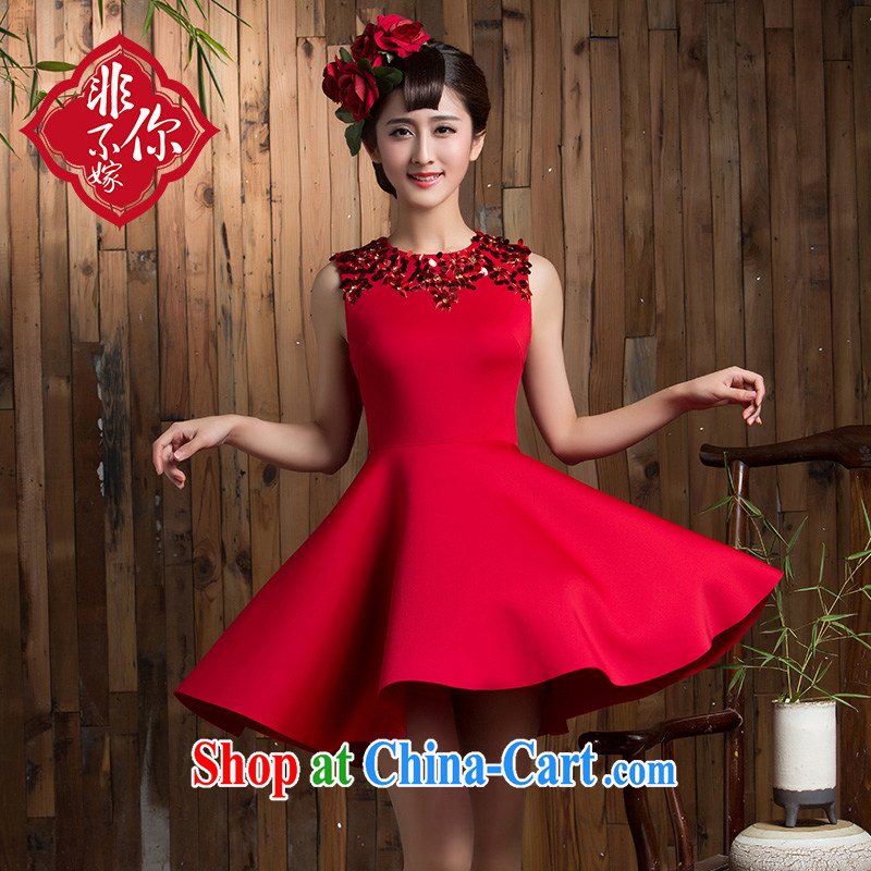 2014 new toast clothing autumn and winter wedding bridal short sleek beauty red dresses wedding dresses small red 2 XL