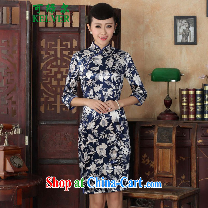To Green, autumn and replacing Tang Women's clothes, cheongsam collar Chinese improved cheongsam ethnic wind-scouring pads beauty 7 cuff cheongsam dress - A White 3XL