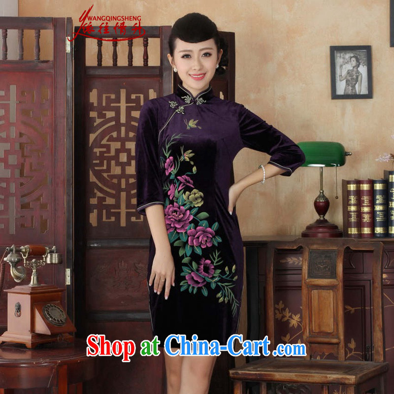 In accordance with the conditions and in summer, the female-stretch really scouring pads, for the hard-pressed 7 cultivating a qipao Cuff - B purple 3XL