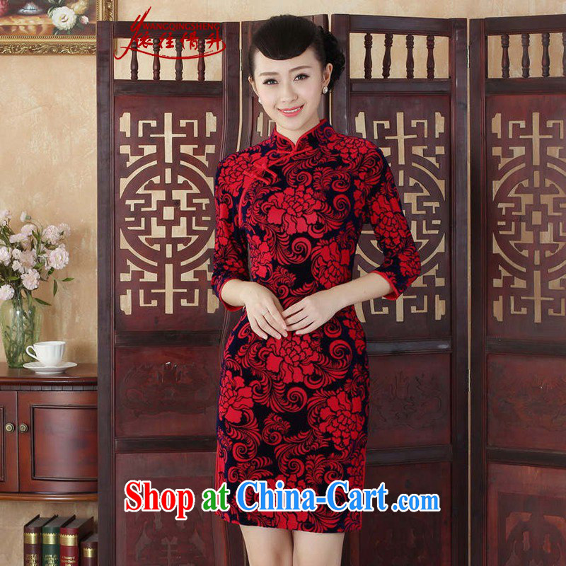 In accordance with the conditions and l Tang Women's clothes cheongsam dress autumn new ethnic wind Chinese improved the wool, for a tight 7 cultivating a cuff saffron outfit XL