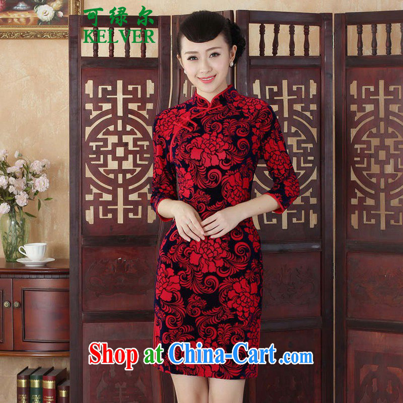 To Green, female Chinese cheongsam dress autumn new ethnic wind Chinese improved the wool, for a tight 7 cultivating a cuff saffron outfit 2 XL
