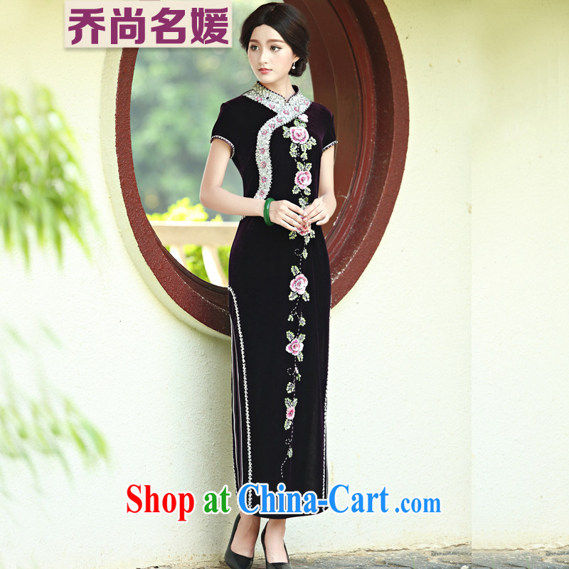 Her mother married her mother-in-law cheongsam dress summer wear gold velour female Tang replace LDH 820 purple _short-sleeved_ XXXXL _2 feet 7 back_