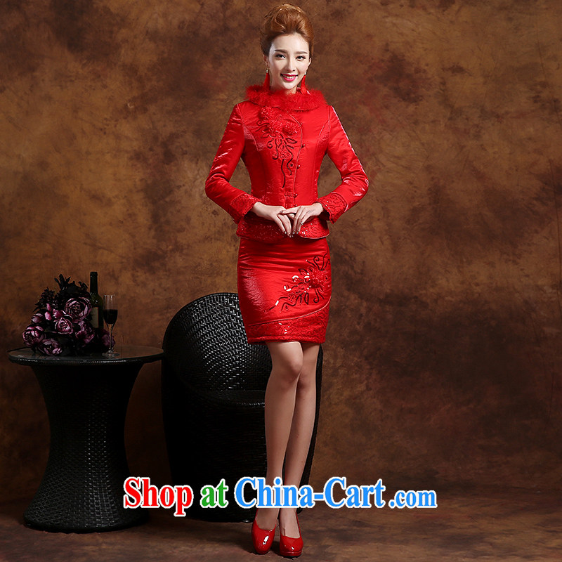 Sophie HIV than toasting Service Bridal Fashion summer 2015 new Chinese qipao long-sleeved wedding dresses evening dress uniform toast short red XXL