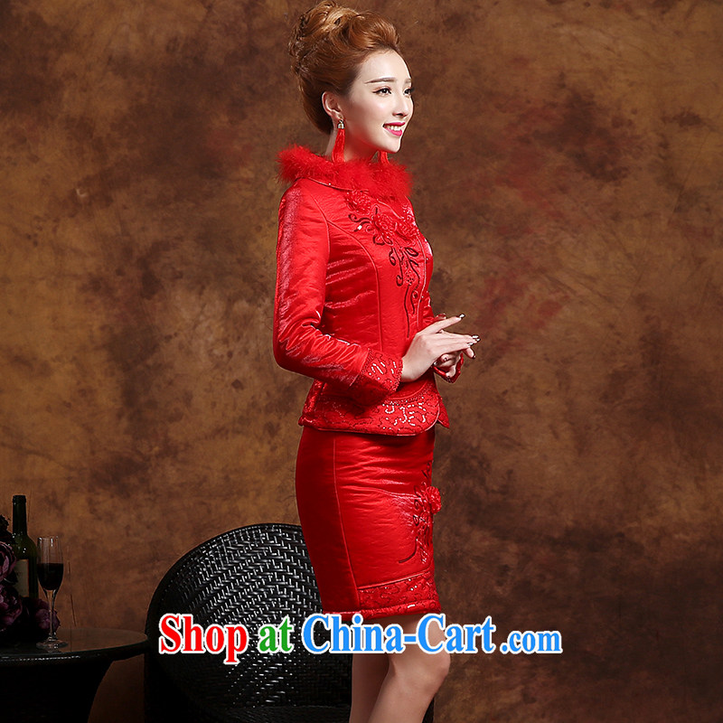 Sophie HIV than toasting Service Bridal Fashion summer 2015 new Chinese qipao long-sleeved wedding dresses evening dress uniform toast short red XXL, than AIDS (SOFIE ABBY), online shopping