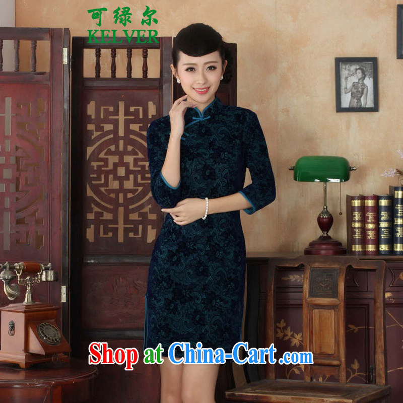 To Green, autumn and the new female Chinese cheongsam dress, for a hard-pressed National wind-scouring pads beauty 7 cuff cheongsam - A Al green 2 XL
