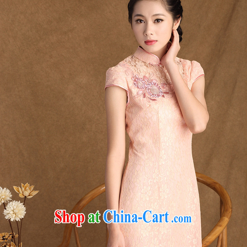 The cross-sectoral Windsor 2015 summer new women's clothing lace Beauty Fashion improved cheongsam dress retro elegant 3138 Y B XL 3