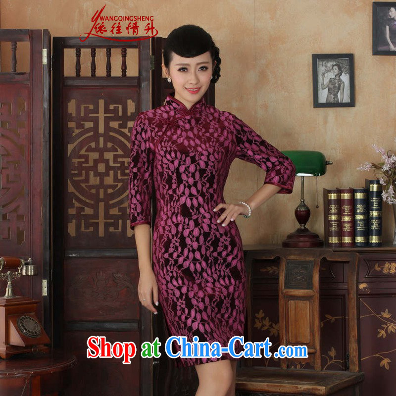 In accordance with the conditions and raise new female Chinese qipao Chinese improved lace gold velour cheongsam beauty skirt 7 cuff qipao picture color 3XL
