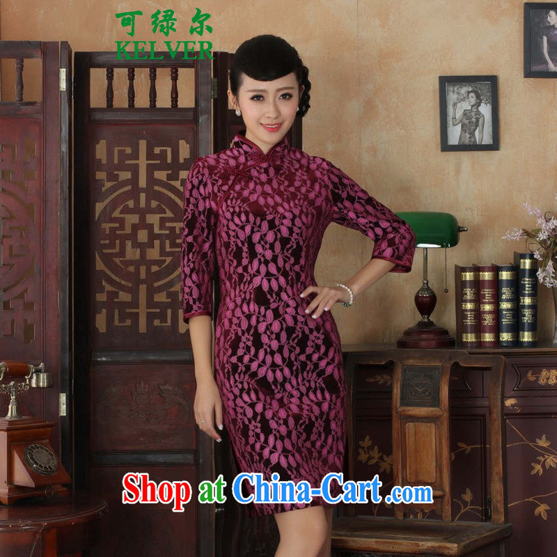 To Green's new female Chinese qipao,Chinese improved lace gold velour Sau San cheongsam dress 7 cuff cheongsam picture color 3XL