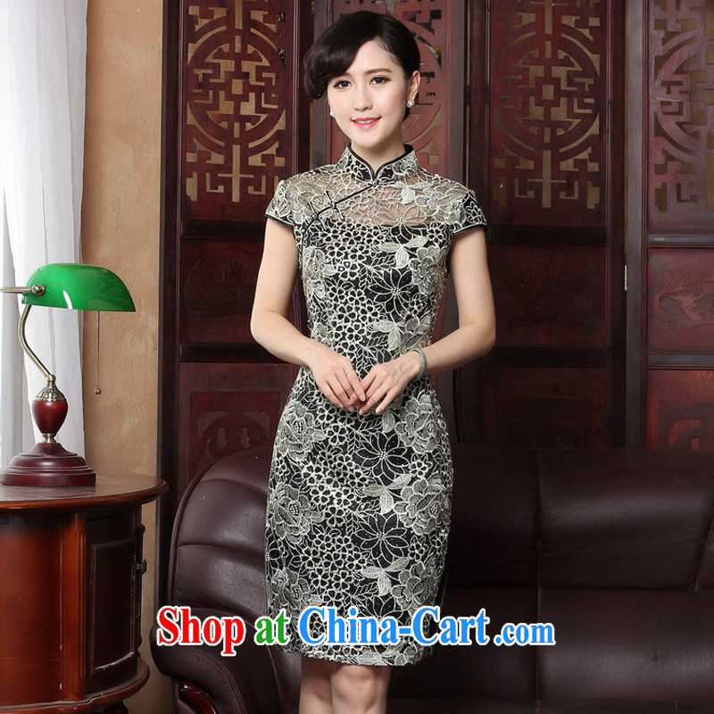 The cross-sectoral privacy Elizabeth by 2015 new short-sleeved Chinese daily outfit retro beauty graphics thin lace improved cheongsam dress 3156 Y B 2 XL