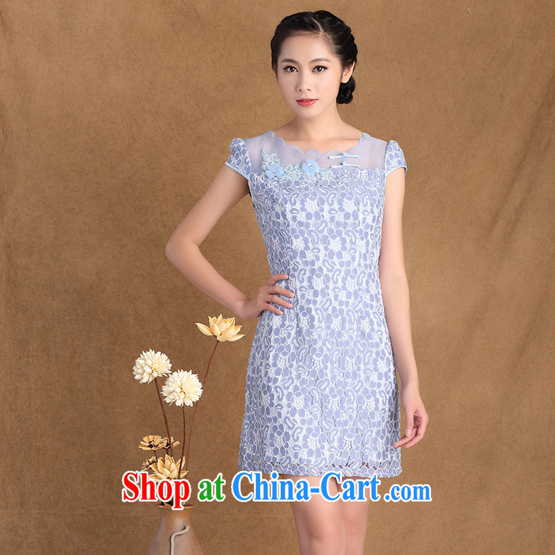 The cross-sectoral Windsor summer 2015 new women's clothing boutique stamp lace Beauty Fashion cheongsam dress 3177 Y B 2 XL
