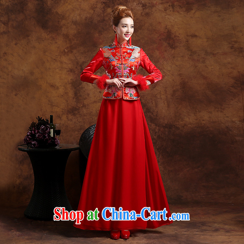 Sophie HIV than toasting Service Bridal Fashion 2015 new summer Chinese wedding dress qipao Sau Wo service Phoenix use long-sleeved dresses red S