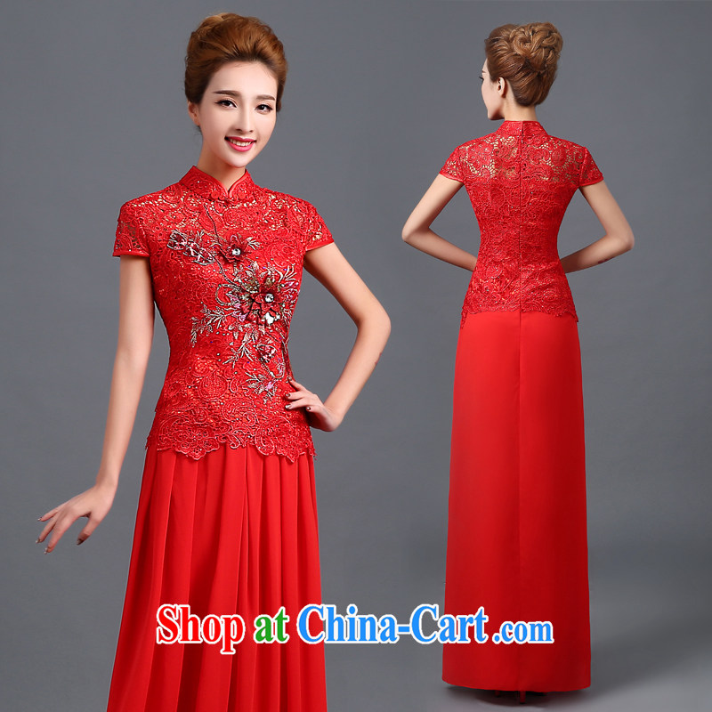 The Vanessa wedding dresses 2015 summer, red long antique dresses stylish short-sleeve-su Wo service beauty graphics thin retro Phoenix marriage of cheongsam long red XXL