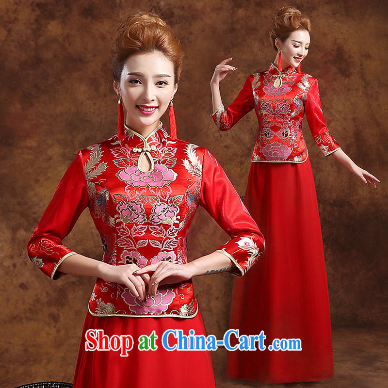 The Vanessa toast Service Bridal Fashion 2015 new marriages red outfit, long-serving reel marriages long-sleeved qipao dress Phoenix Summer of female Red XXL (Red has been refined with)