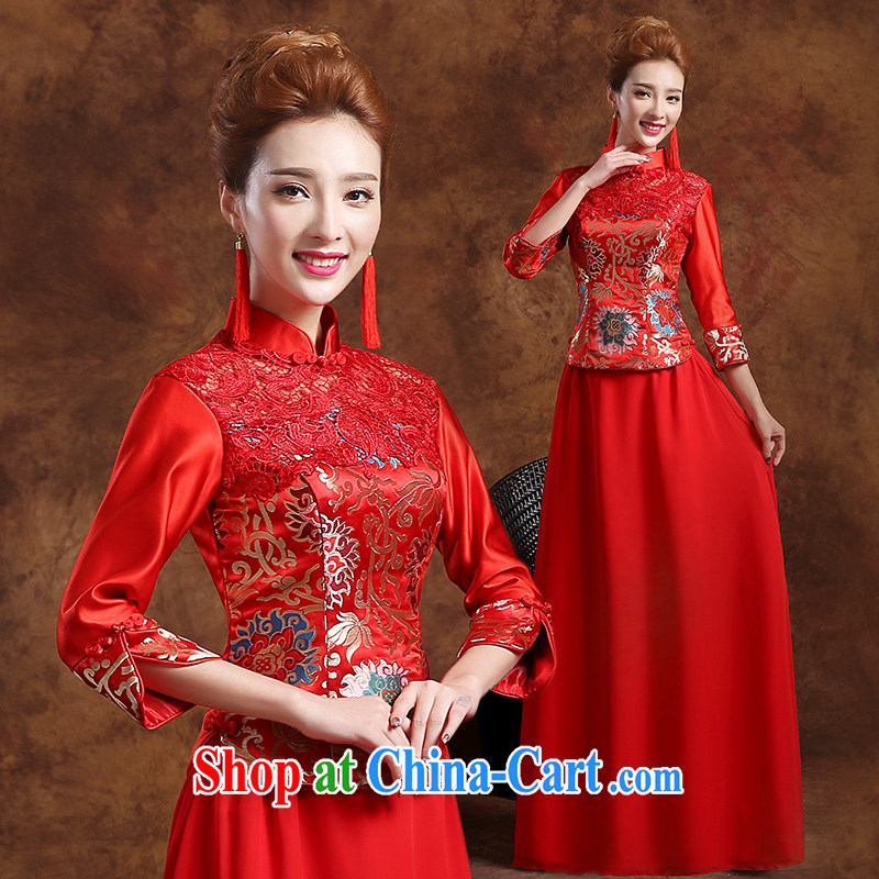 The Vanessa wedding dresses 2015 new marriages long-sleeved dresses and stylish red long-su Wo service beauty graphics thin cheongsam dress of Phoenix summer autumn female Red XXL