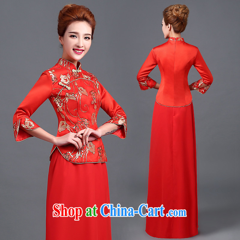 The Vanessa bridal dresses 2015 summer bows new marriage, red outfit, cultivating graphics thin Chinese show reel outfit serving long-sleeved robes of Phoenix red XXL (the Code)