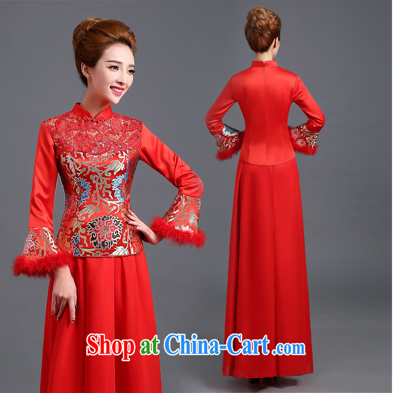The Vanessa summer 2015 dresses stylish new marriages cheongsam long-sleeved retro dresses red long-serving Wo Fung also cheongsam Cultivating Female red XXL