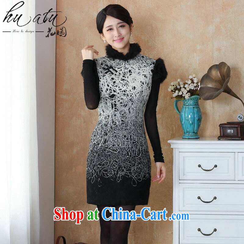 spend the winter new cheongsam dress Chinese cheongsam lace composite edges, stamp duty for cheongsam dress dress - 9 3 XL