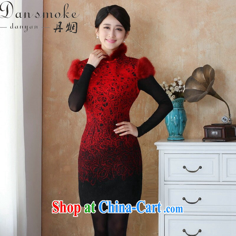Dan smoke-free fall and winter cheongsam dress Chinese cheongsam lace composite edges, stamp duty for cheongsam dress dresses show - 10 3 XL