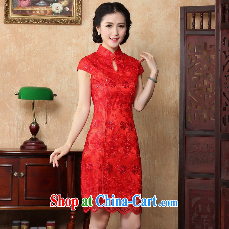The cheer her new special 2015 spring and summer new bride wedding dress short retro lace cheongsam dress red bows service 2019 Y B燬