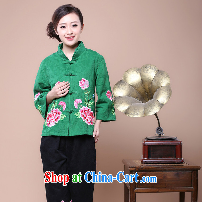 Air Shu Diane Tang replace Ms. load fall 2014 New, Old mother beauty T-shirt jacket Chinese Tang Women's clothes green XXXL