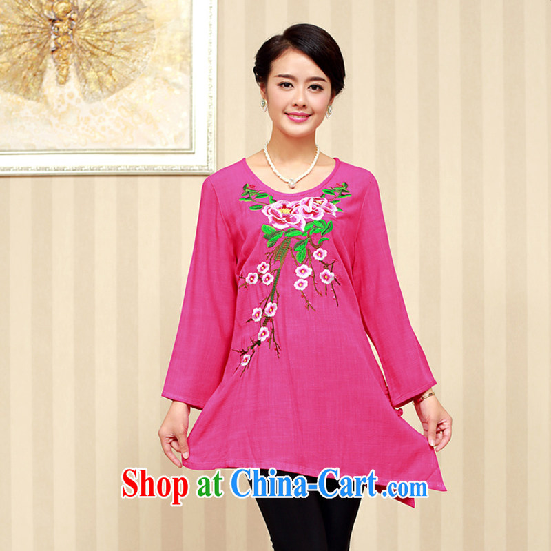 Air Shu Diane 2014 autumn new cotton Ma Tang women autumn dresses, short, wearing a short-sleeved lace Chinese beauty mother of ethnic clothes of red XXXL