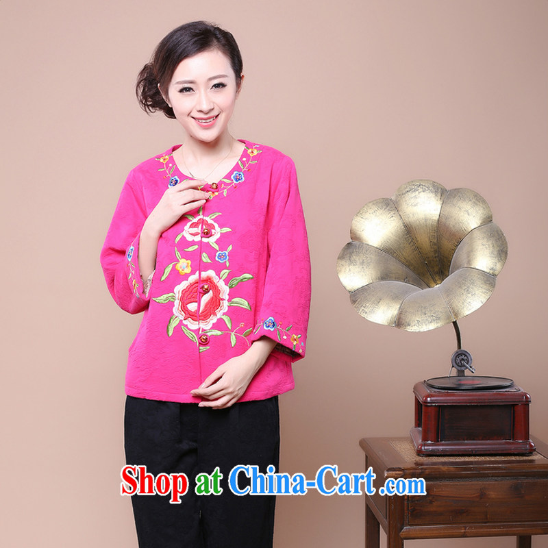 Air Shu Diana autumn 2014 new, middle-aged and older women with autumn embroidery Chinese middle-aged mother with spring girls jacket older persons with mother of red XXXL
