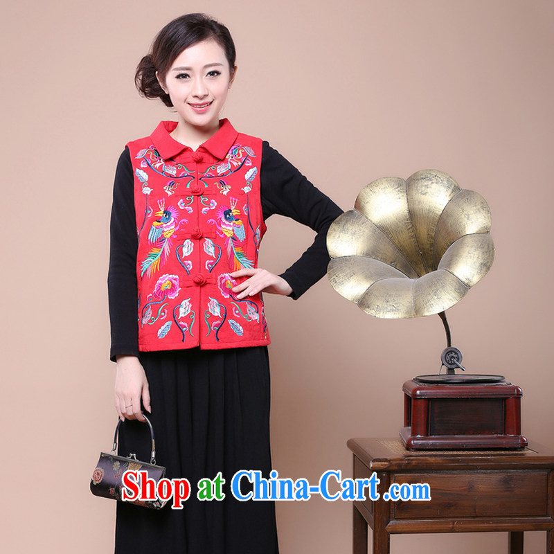 Air Shu Diana autumn 2014 New, Old, a female spring loaded thin, women shoulder the mother load elderly corduroy cotton vest red XXL