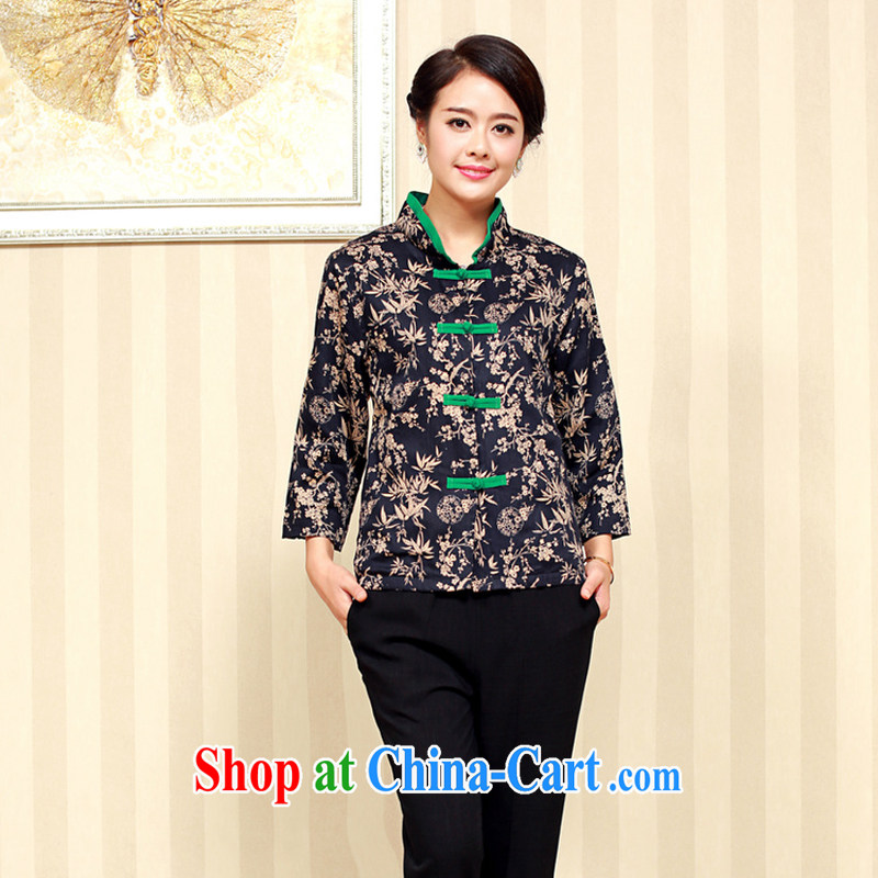 Air Shu Diane 2014 autumn new female ethnic wind embroidered jacket 9 of the cuff is a leading Chinese fall for the high-end embroidery black燲XL