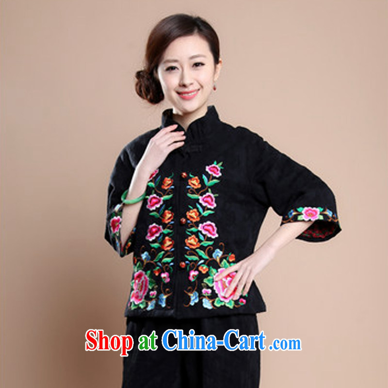 Air Shu Diane 2014 new autumn and the middle-aged women's coats 7 Loose Cuff Tang replace Ethnic Wind embroidery XL female black XXXL