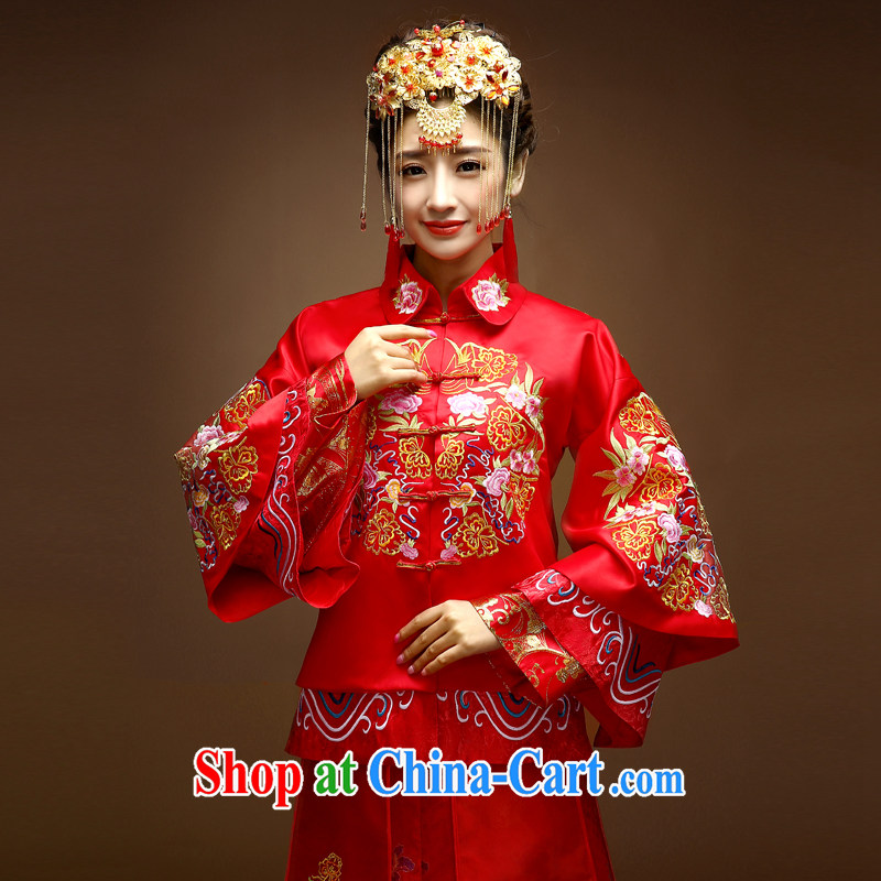 A good service is a Chinese bride married Yi wedding dress 2015 new spring and summer wear long-sleeved dresses and bows Kit Sau Wo service red XL