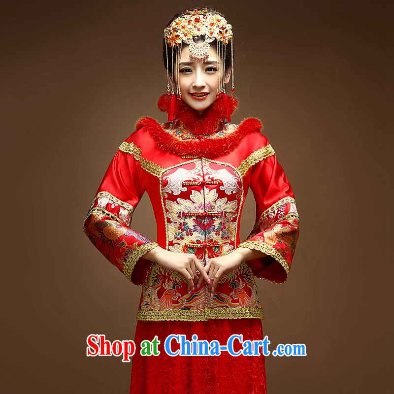 A good service is 2015 New Spring Summer bridal wedding dress Chinese Soo Wo service married cheongsam dress uniform toasting red 2 XL