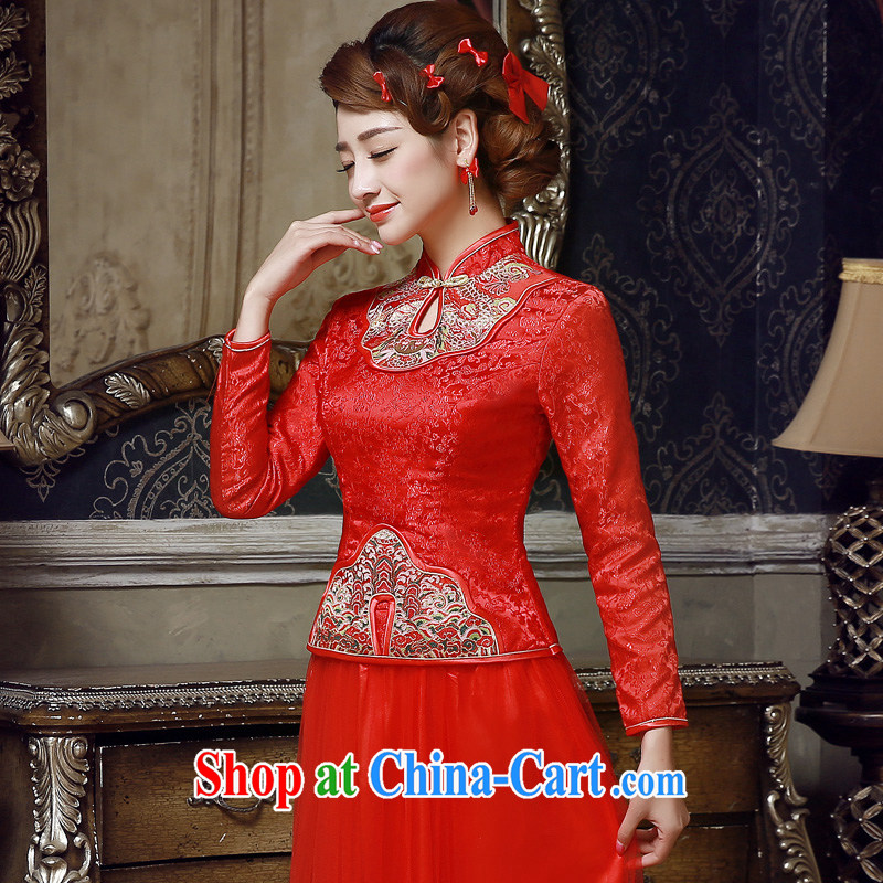 A good service is 2015 new spring and summer red Chinese brides wedding dress long-sleeved robes bows serving red 2 XL