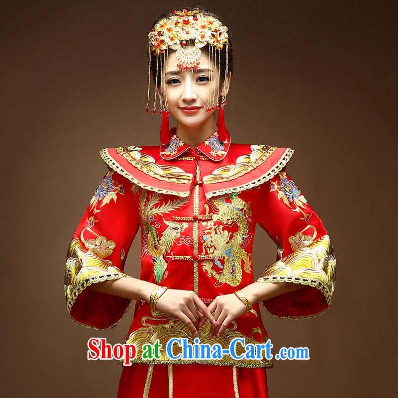A good service is 2015 new Chinese wedding dress bride married Yi bows and dresses Soo Wo service use phoenix dress red M