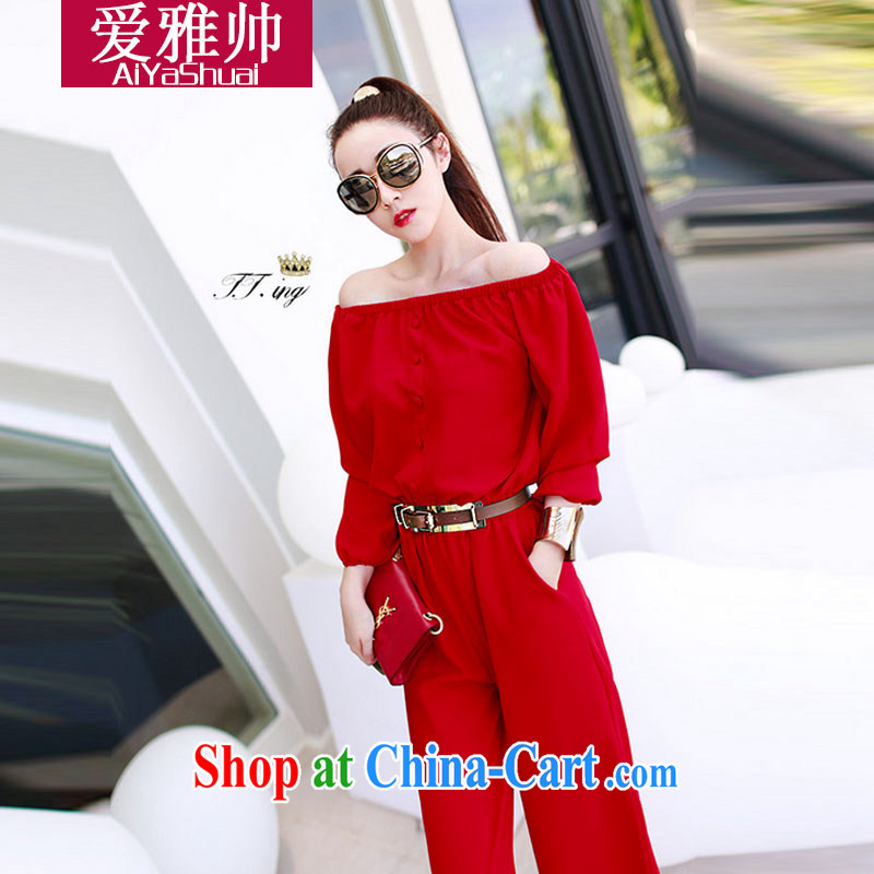 Love Ya handsome autumn 2014 new Ching Ching, with a field for your shoulders long-sleeved-trousers with belt red L