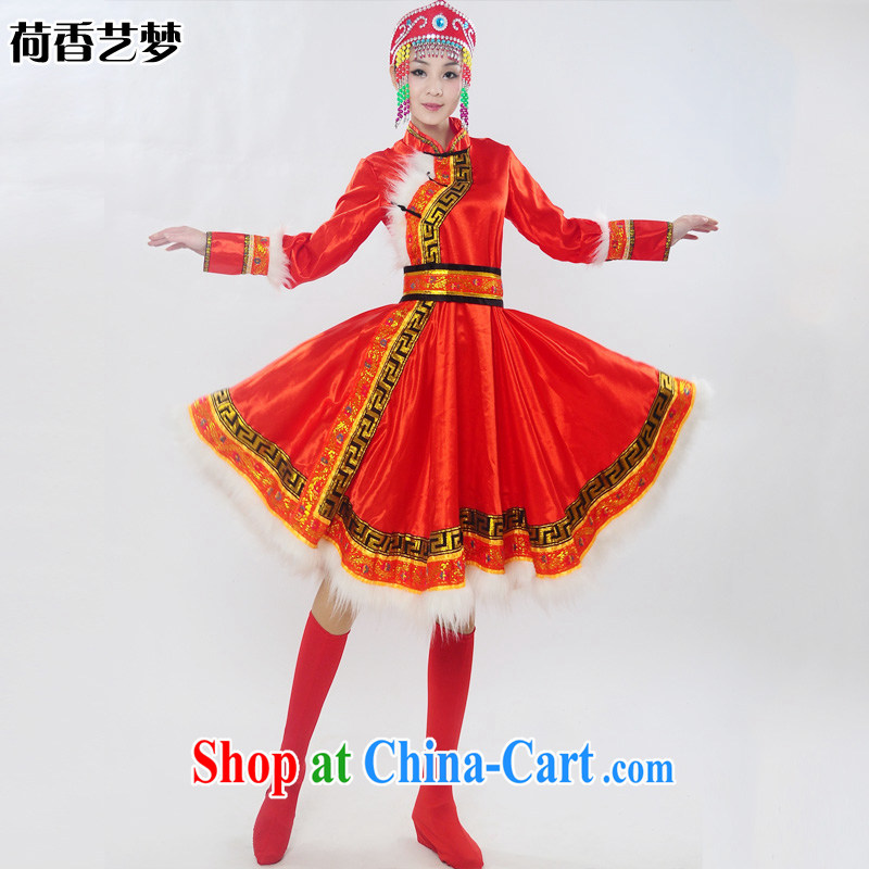 I should be grateful if you would arrange for Performing Arts Hong Kong dream 2014 genuine new Mongolia show ethnic minorities served Mongolian folk girl costumes dance clothing HXYM 0028 red XXXL