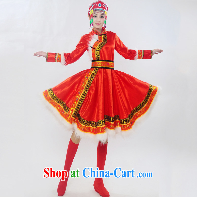Double 122,014 genuine new Mongolia show service Mongolian ethnic minority women folk costumes dance clothing HXYM - 0028 red XL