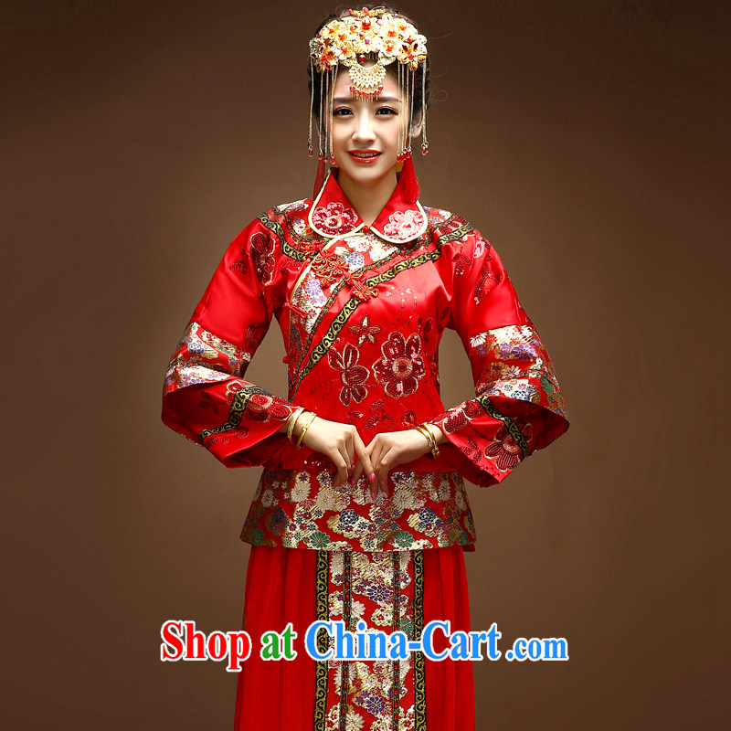 A good service is 2015 new spring and summer with Chinese brides and married Yi wedding dress toast clothing qipao Sau Wo service red S