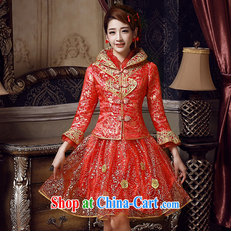 A good service is 2015 New red spring and summer bridal wedding dress toast serving long-sleeved short cheongsam red winter, lantern skirt 2XL