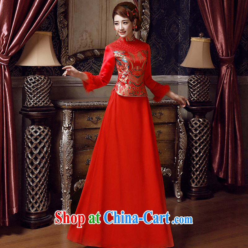 A good service is 2015 New Spring Summer wedding dresses Chinese bride toast long-sleeved clothing red cheongsam red 2 XL