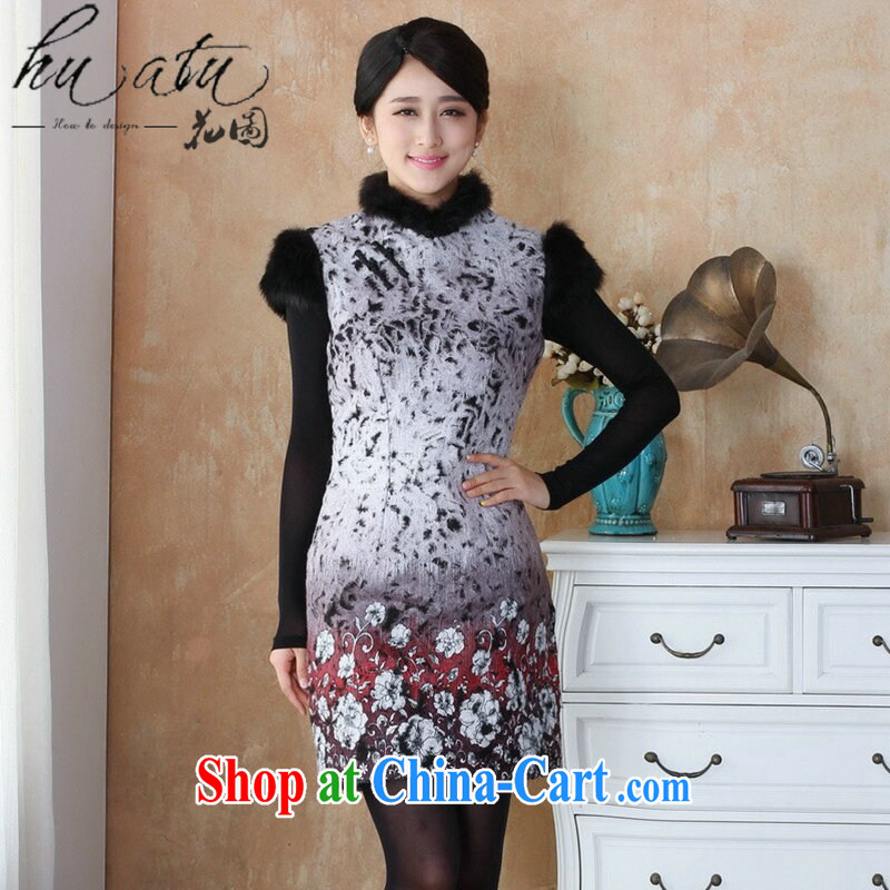 spend the winter clothing new cheongsam dress so gross Chinese qipao, edges, stamp duty for cheongsam dress dress - 1 red 3 XL
