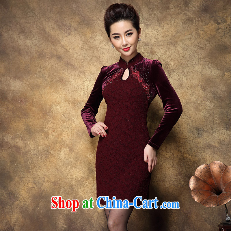 Sunflower Japanese New female high temperament, velvet dress autumn long-sleeved autumn and winter cheongsam dress wedding dance clothing beauty graphics thin Q 2086 deep red XXXXL