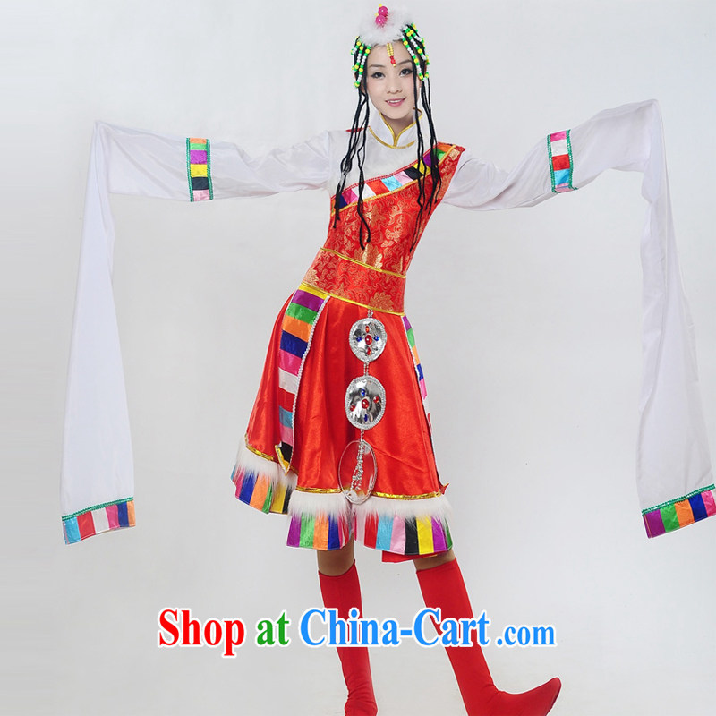 Dual 12 performing arts dream dress 2014 new Tibetan water cuff dance costumes minority stage performances serving female HXYM - 0029 red S